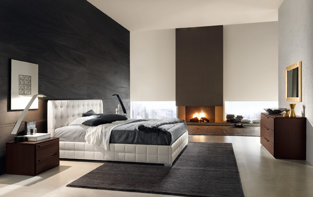 contemporary-bedroom-bed-modern-bedding-luxury-leather-beds-area-rug-bedside-tables-black-accent-wall