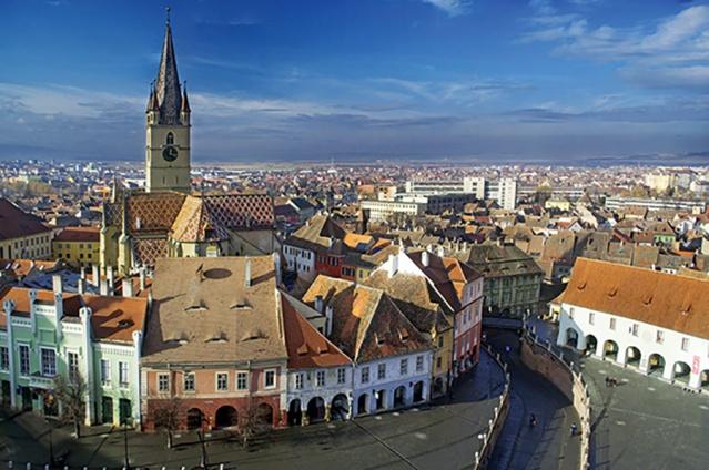 Aerial-view-of-Sibiu-old-town-in-Transylvania-Romania