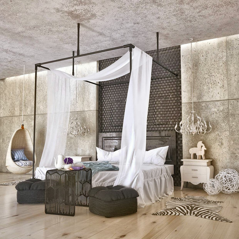 Elegant Concrete in a bedroom